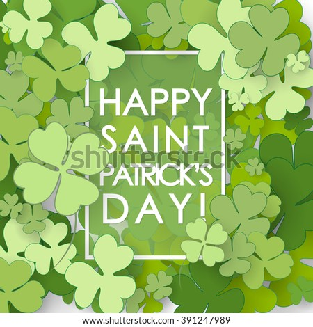 St Patrick's Day background. Vector illustration for lucky spring design with shamrock.  - stock vector
