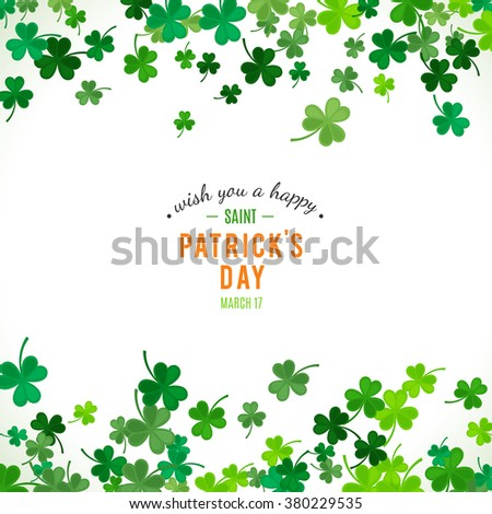 St Patrick's Day background. Vector illustration for lucky spring design with shamrock. Green clover border and stripe frame isolated on white background. Ireland symbol pattern. Irish header for web. - stock vector