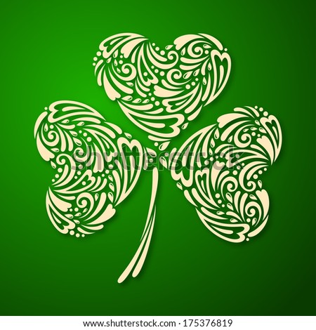St. Patrick's day background with clover in green colors. Vector illustration.  Vintage template with ornamental leaf clover. - stock vector