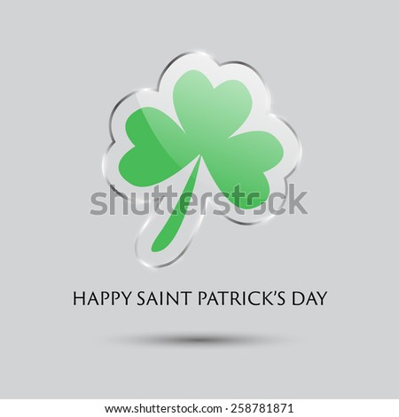 St. Patrick's day background with clover inside the glass frame. - stock vector