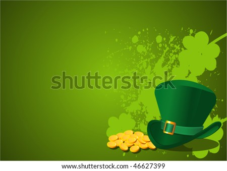 St. Patrick's Day Background with Leprechaun Hat - stock vector