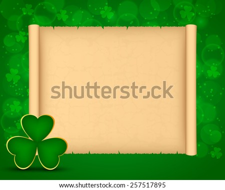 St Patrick's day background with parchment and shamrock - stock vector