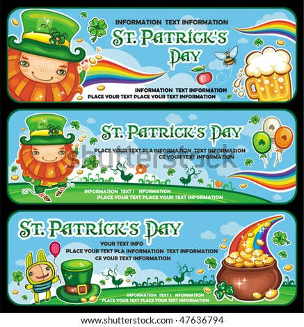 St. Patrick's Day banners with copy space. - stock vector