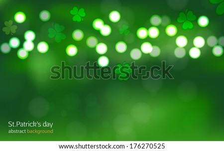 St.Patrick's day bokeh abstract background - stock vector