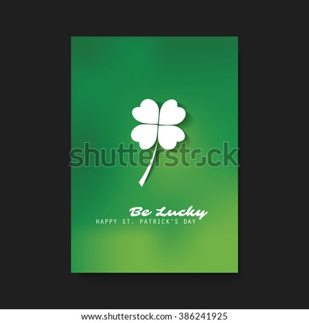 St Patrick's Day Card, Flyer, Cover Background Template Design - Be Lucky - stock vector
