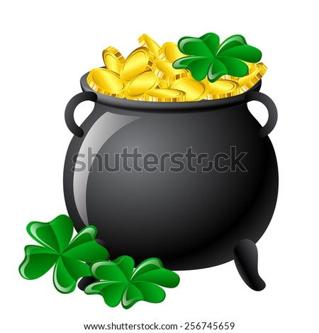 St Patrick's Day cauldron with gold and clovers - stock vector