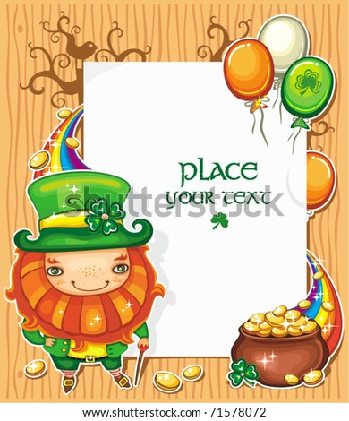 St Patrick's Day celebration composition featuring Irish holidays symbols: Leprechaun, pot of gold, golden coins,  rainbow, Irish flag color baloons flying around. White message board with copyspace - stock vector