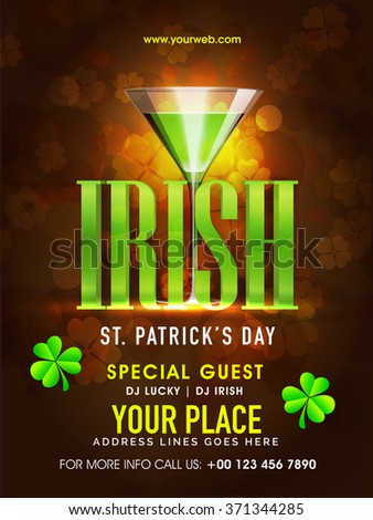 St. Patrick's Day celebration pamphlet, banner or flyer design with stylish text Irish and green beer in glass on shiny brown background. - stock vector