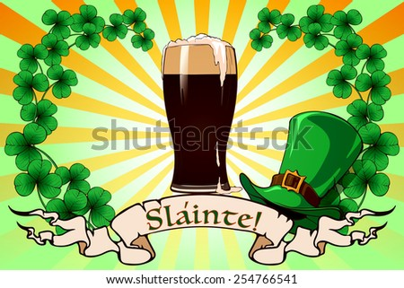 St. Patrick's day festive background design with clover leafs, Leprechaun's hat, pint of dark beer and traditional toast in Gaelic meaning Health. EPS 10 vector illustration. - stock vector