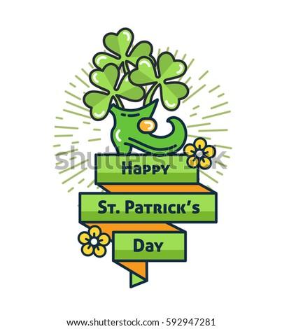 st patricks day flat line greeting stock vector 592947281 shutterstock