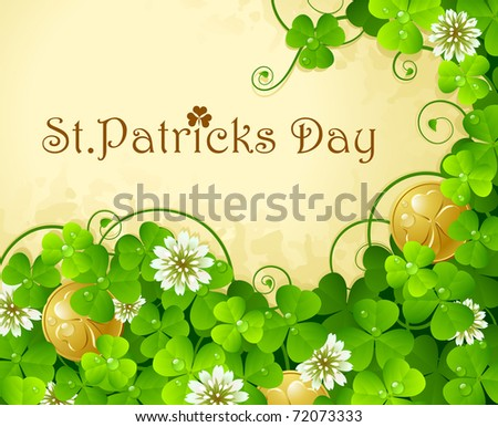 St. Patrick's Day frame with clover and golden coin 7 - stock vector