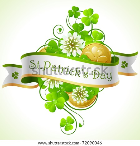 St. Patrick's Day frame with clover and golden coins - stock vector