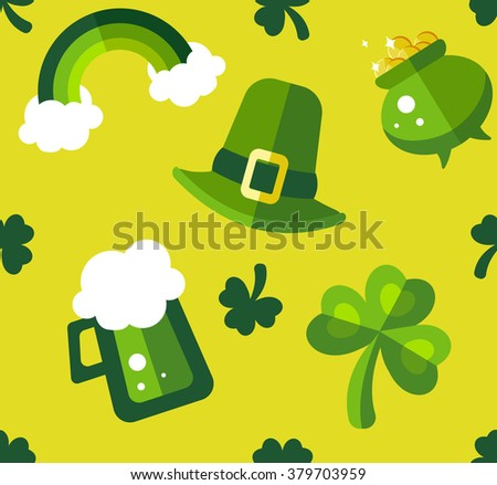 St Patrick's Day green and yellow seamless pattern. Funny and stylish flat pattern best for wrapping paper, decor and postcard - stock vector