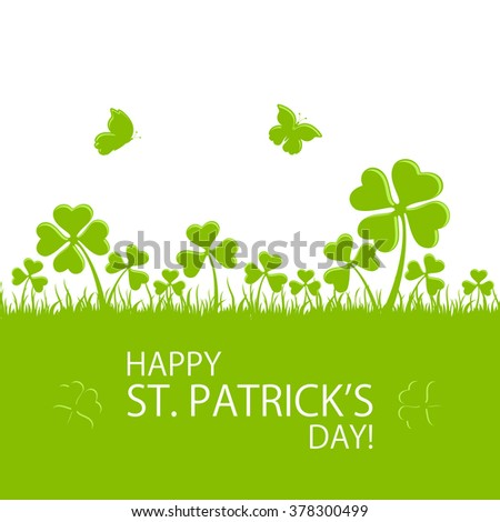 St. Patrick's Day green background with clovers in grass and flying butterfly, illustration.  - stock vector