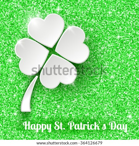 St. Patrick`s day Greeting Card Background with 3d White Paper Clover - stock vector