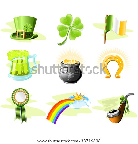 St. Patrick's Day icon set - stock vector