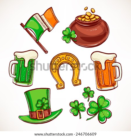 St. Patrick`s Day icon set. Pot of gold, glasses of beer, clover leaves - stock vector