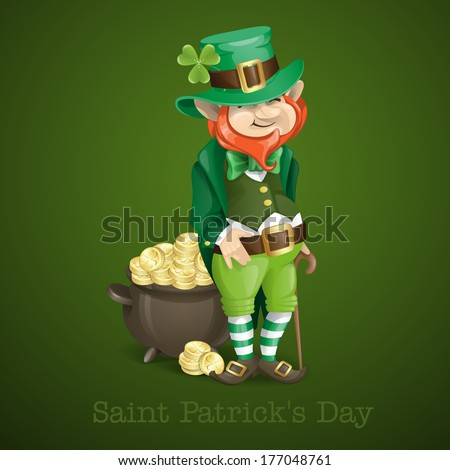 St. Patrick's Day. Leprechaun With Pot Of Gold. Vector Illustration. Eps 10. - stock vector