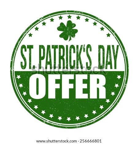 St. Patrick's Day offer grunge rubber stamp on white background, vector illustration - stock vector