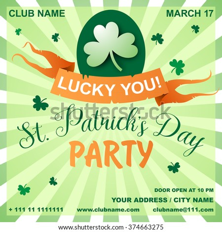 St. Patrick's Day poster. Green clover leaf. Irish night party banner or poster. Invitation disco party. Typography. Vector illustration - stock vector