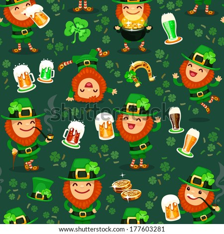 St. Patrick's Day's seamless texture. Editable pattern in swatches. - stock vector