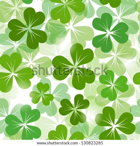 St. Patrick's day seamless background with shamrock. Vector EPS-10. - stock vector