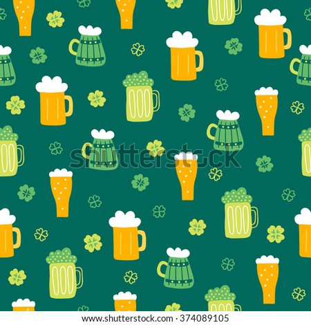 St. Patrick's Day seamless pattern with beer glasses, quatrefoil and shamrock on green background. Perfect for wallpapers, gift papers, patterns fills, textile,  St. Patrick's Day greeting cards - stock vector