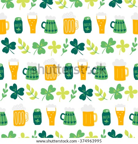St.Patrick's Day seamless pattern with clover, branch and beer glasses on white background. Perfect for wallpapers, gift papers, patterns fills, textile, St. Patrick's Day greeting cards - stock vector