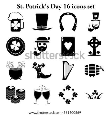 St. Patrick's Day 16 simple icons set - stock vector