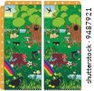 St. Patrick's Day spot ten differences visual puzzle. Answer: a1, d1, b2, e3, a4, d4, c7, b9, e9, a10. For high res JPEG or TIFF see image 2883359 . - stock vector