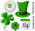 St. Patrick's Day symbols vector set. - stock photo
