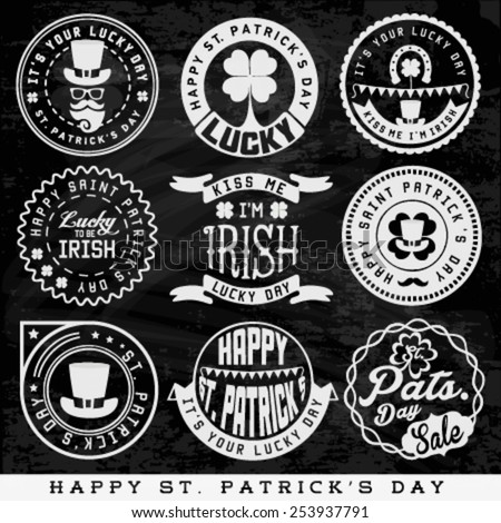 St. Patrick's Day Typographical Design Elements and Badges on Chalkboard - stock vector