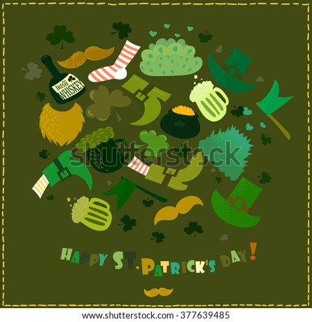 St. Patrick's Day vector decoration and photo booth props set - stock vector