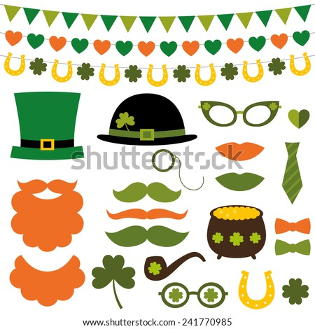 St. Patrick's Day vector design elements and photo booth props set - stock vector