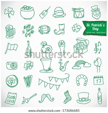St. Patrick's Day Vector Icons, hand drawn design element: beer, hat, ale, calendar, cauldron, clover, leprechaun, camera, mustache, bottle, horseshoe, money, boot, drum - stock vector