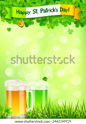 St. Patrick's Day vector leaflet template with beer and clovers on light green background - stock vector