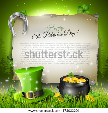 St. Patrick's Day - vector template with copyspace  - stock vector