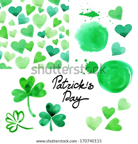 St. Patrick`s day watercolor illustration set. Collection of design elements isolated on white background. Vector illustration  - stock vector