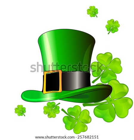 St. Patrick's hat with green clover leaves (vector image) - stock vector
