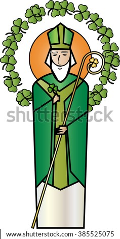 St Patrick, the patron saint of Ireland. Simple abstract color vector illustration. - stock vector
