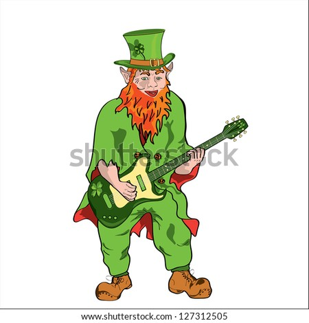 St Patrick with an electro guitar - stock vector