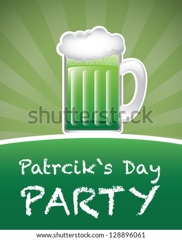 St Patricks day background with beer vector illustration - stock vector