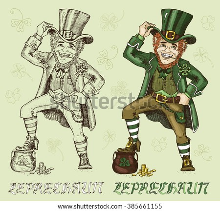 leprechaun pot of gold stock images  royalty free images   vectors    colorful and engraved leprechaun   pot of gold on