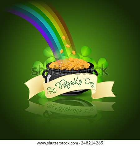 St. Patricks Day Cauldron with Gold Coins, Rainbow and Shamrock - stock vector