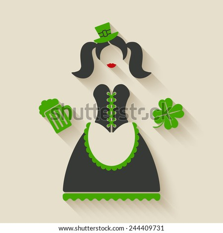 St. Patricks Day girl with beer mug and clover - vector illustration. eps 10 - stock vector