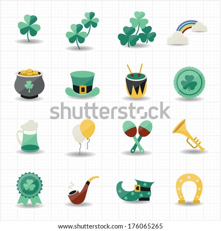 st patricks day icons with white background - stock vector