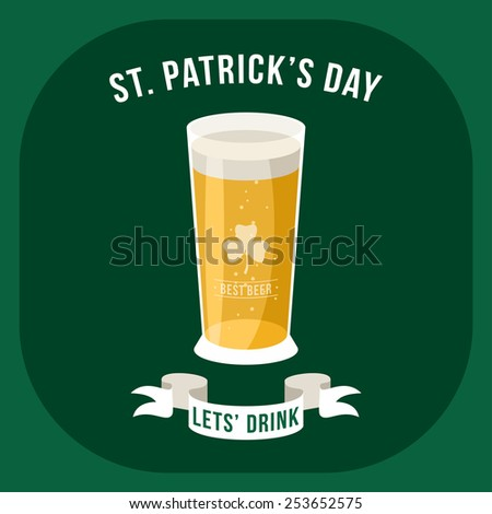 St. Patricks Day vintage holiday badge or poster design - stock vector