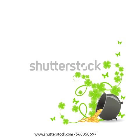 St Patricks Template Corner Green Shamrock Stock Vector (2018 ...