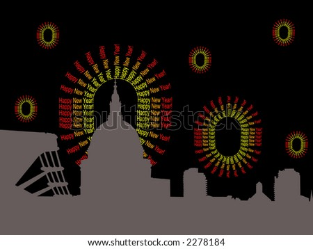 St Pauls and Millennium Bridge and abstract happy New Year fireworks illustration - stock vector