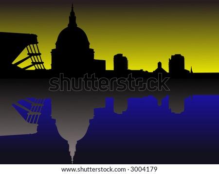 St Pauls and Millennium Bridge at sunset - stock vector